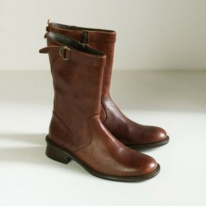90s Round Toe Chestnut Leather Short Boots